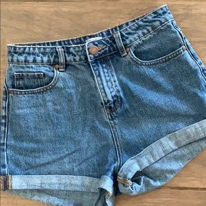 Blue denim mom shorts